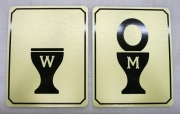Golden Bathroom Signs