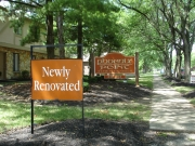 Apartment complex rental signs