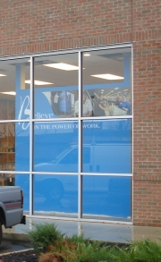 Wall graphic display to exterior
