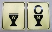 Golden Bathroom Signs