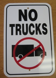 No Trucks Street Sign