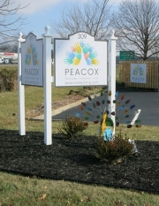 Peacox Standing Sign